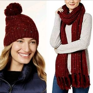 Steve Madden Speckled Pom Pom Hat and Scarf Set